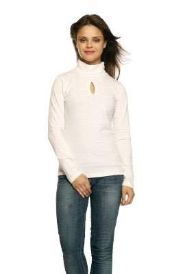 GRITSTONES White HIGH Neck Full Sleeves HIGH Neck