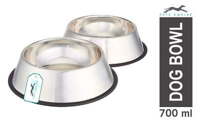 Pets Empire Stainless Steel Dog Bowl Medium (Buy 1, Get 1 Free) 700 ml