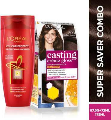 [Pre-Book] L'Oreal Paris Casting Creme Gloss (Darkest Brown 300) Hair Color and Shampoo - 2 Items in the set