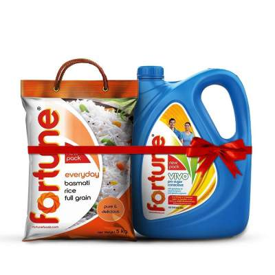 Fortune Vivo Pro Sugar Oil 5L Jar + Fortune Everyday Full Grain basmati Rice 5 Kg
