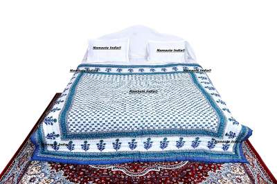 Namaste India Double Bed Size White Jaipuri Cotton AC Quilt Razai Floral Prints for Winters