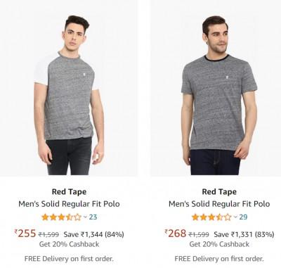Red Tape Men's T-Shirt at Minimum 75% off