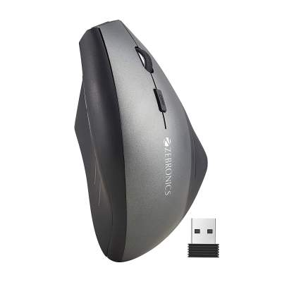 Zebronics Zeb-Shooter Wireless Vertical Mouse with 6 Buttons, 1600DPi and 2.4GHz Wireless Nano Receiver (Black)