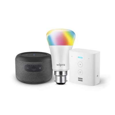 Echo Input Portable with Echo Flex and Wipro 9W LED smart color bulb