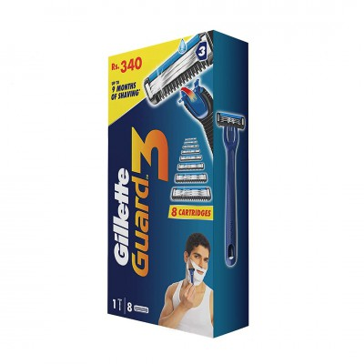 Gillette Guard 3 Shaving Combo (1 Razor + 8 Cartri...