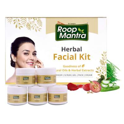 Roop Mantra Herbal Facial Kit For Glowing Skin 75gm, Oily Skin, Dry Skin, All Skin Types (Cleansing Milk, Face Scrub, Massage Gel, Face Pack, Nourishing Cream), 75 g