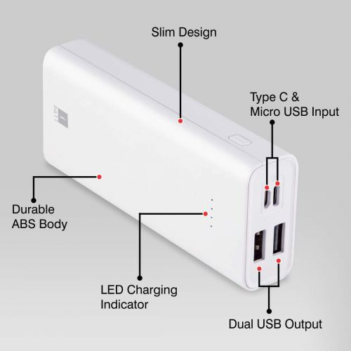 iBall 10000mAh Li-Polymer Slim Design Smart Charge Powerbank – LPS 10000 (Grey)...
