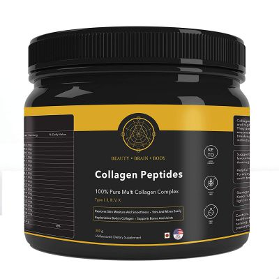 BeautyBrainBody Unflavoured Hydrolysed Multi Collagen Complex Peptides Protein with 18 Amino Acids, 30 Servings (300 g)