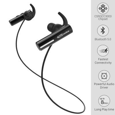 Portronics POR-119 Harmonics Notes Bluetooth 5.0 Wireless Sports Headphone(Black)
