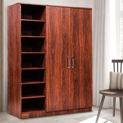2 Door Wardrobe for Bedroom -by ComfyBean- Alen Full Size Wardrobe - Engineered Wood - 2 Door Wardrobe - (Woodpore Laminate Finish, Walnut, WDR 2DR + shlv 18)