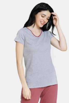 Zivame Stripes And Fun Cotton Sleep Top - Grey