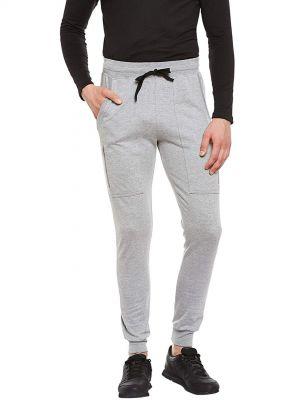 GRITSTONES Grey Melange Regular Fit Track Pant for Men GSTRKPNT1535GMEL
