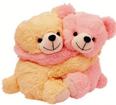 Dimpy Stuff Couple Bear - 20 cm  (Beige, Pink)
