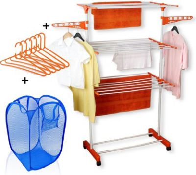 TNC cloth dryer stand with Laundry Bag and Hangers Carbon Steel Floor Cloth Dryer Stand