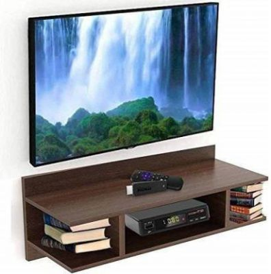 RESHUZ Tv Setup Box & Remote Stand Wooden Wall Shelf  (Number of Shelves - 2, Brown)