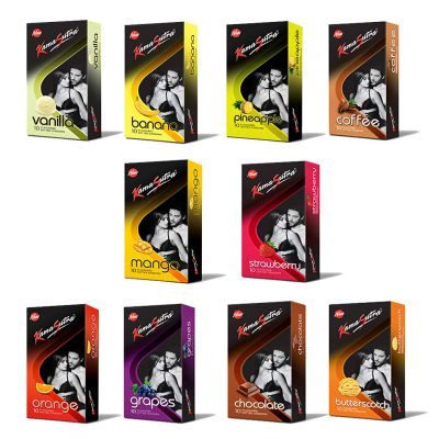 Kama Sutra Combo Of Total 10 Flavours Dotted Condoms (PACK OF 10,s/100 Nos)