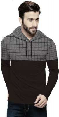 Tripr Checkered Men Hooded Neck Black, Grey T-Shirt