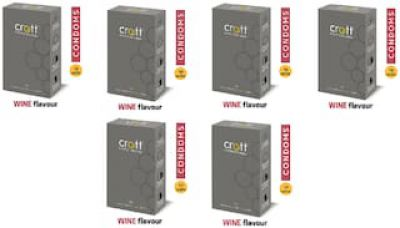Crott india's first re-Energized dotted condom with Wine Flavour (Pack of 10)(Set of 6) Condom