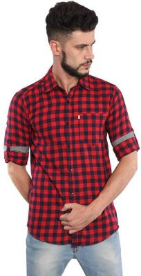 Asian & Fitch Men Checkered Casual Red Shirt