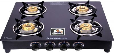 Wonderchef Ruby Black Cooktop Glass Manual Gas Stove  (4 Burners)