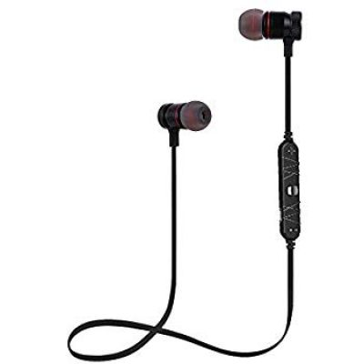 Nu Republic Jaxx Sport in-Ear Wireless Earphones with Deep Bass, BT V4.1, 11mm Titanium Drivers,Magnetic Earbuds,Long Battery Life,Carry Case,in-Line contorls with Mic-Black