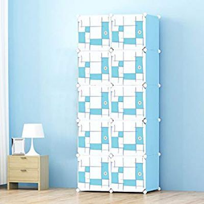 Story@Home Portable and Foldable Plastic Wardrobe, Light Blue/Sky Blue