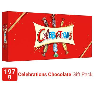 Celebrations Assorted Chocolate Gift Pack (Snickers, Mars, Bounty, Galaxy Jewels)- 197g Box