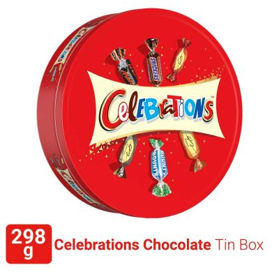 Celebrations Assorted Chocolate Gift Pack Tin Box (Snickers, Mars, Bounty, Galaxy Jewels)- 298.2g