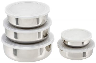 Amazon Brand - Solimo Stainless Steel Set of 5 Storage Containers with Lid