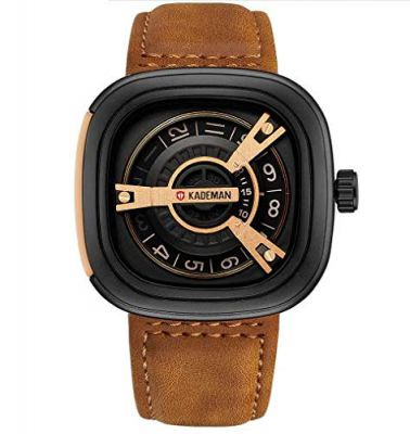 Kademan Brown Business Casual Waterproof Leather Strap Unique Display Square Dial Watch for Men and Boys