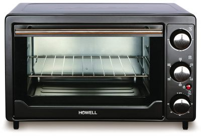 BMS Lifestyle (Howell) 24 Litre BMS FE2416V Multi-Function Stainless Steel with Timer Toast, Bake, Broil Settings, Natural Convection 1380 Watts of Power, Includes Baking Pan Black(OTG)