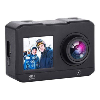 "Xmate Stunt Lite 16MP 4K WiFi Action Camera, 2"" HD Display Selfie Enabled, 30m Waterproof Case, 2.4G Remote & Mounting Accessories - (Black)"