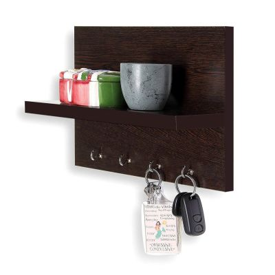 Woodkartindia Wall Mounted Key Holder with Wall Shelf (Standard, Brown)