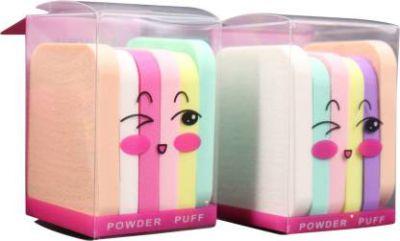 Mopi Soft Sponge Powder Puff Makeup Rectangle Shape Multicolor (Set of 12)