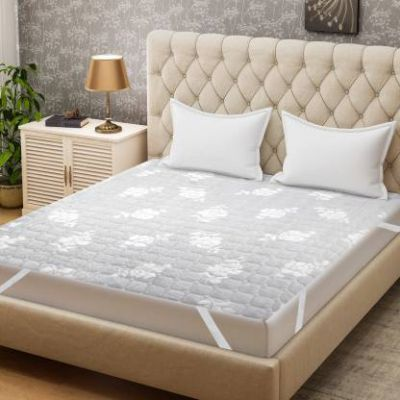Bombay Dyeing Mattress Topper Double Size Mattress Protector (Grey)