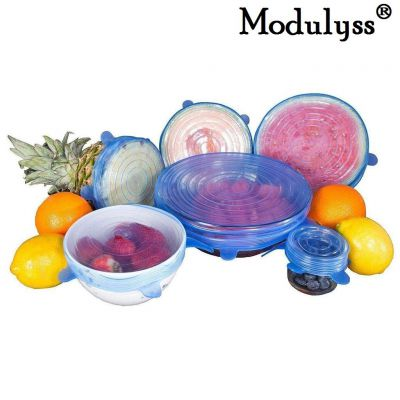 MODULYSS Allium Dishwasher, Microwave, Freezer, Safe Silicone Stretch Lid, Reusable Food Storage Cover for Bowls, Multicolour - Pack of 6