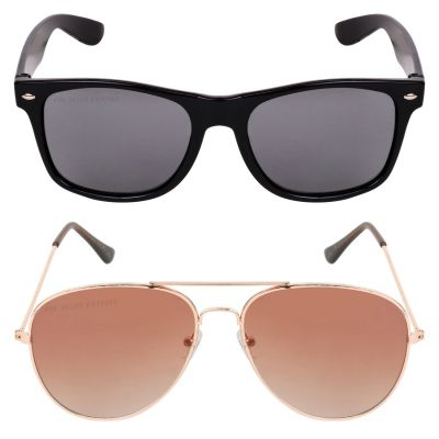 Criba Gradient Wayfarer Unisex Sunglasses - (pknk+gol dbn sd_CRLK|40|Black Color Lens)
