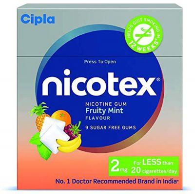 Nicotex Cipla Nicotine Gum 2 mg (Fruity Mint, 9x10 Pieces) - Pack of 10