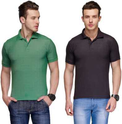 Teesort Solid Men Polo Neck T-Shirt  (Pack of 2)