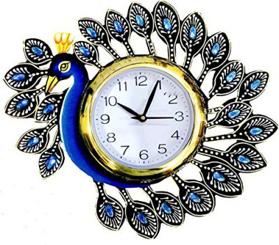 JaipurCrafts Designer Kundan Studded and Meenakari Work Stylish Beautiful Wooden Peacock Emboss Painting Wall Clock