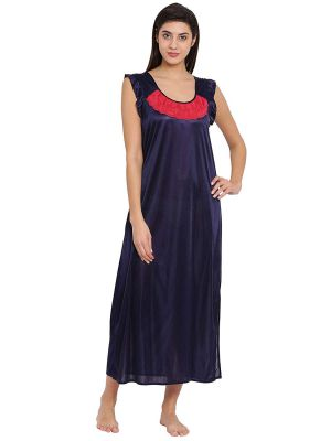 Clovia Women's Satin Solid Nighty