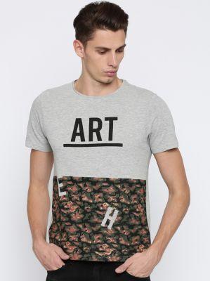 Mast & Harbour Printed Men Round Neck Grey T-Shirt