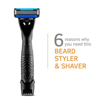 Ustraa Gear 2-in-1 Beard Styler - 5 Blade Razor & Trimmer