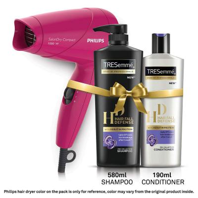 TRESemme Hair Fall Defense Shampoo 580ml and Conditioner 190ml Combo Pack + Philips Hair Dryer, 770 ml