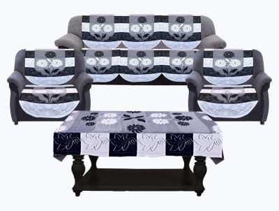 Kuber Industries Side Flower Cotton 5 Seater Sofa Cover with Center Table Cover