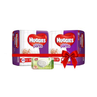 Huggies Wonder Pants Comfort Pack Extra Small Size Diapers (114 Count) and Huggies Baby Wipes-Cucumber & Aloe (72 Count)