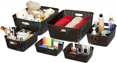 Amazon Brand - Solimo 6 Piece Storage Basket Set, Brown