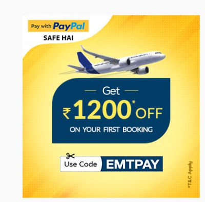 EaseMyTrip PayPal Offer: Rs.1200 off on 2500 Flight Booking