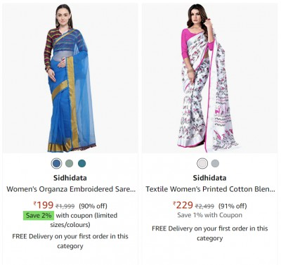 Minimum 90% off on women's ethnic wear