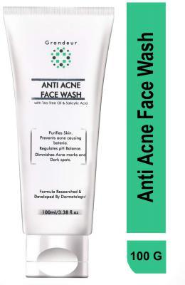 Grandeur Anti Acne Face Wash With Tea Tree Oil 100ml, Gentle & Refreshing, Oil Control, NO SLS NO PARABEN